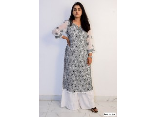 Buy Hand Embroidered Lucknowi Chikan White and Black Georgette Kurti